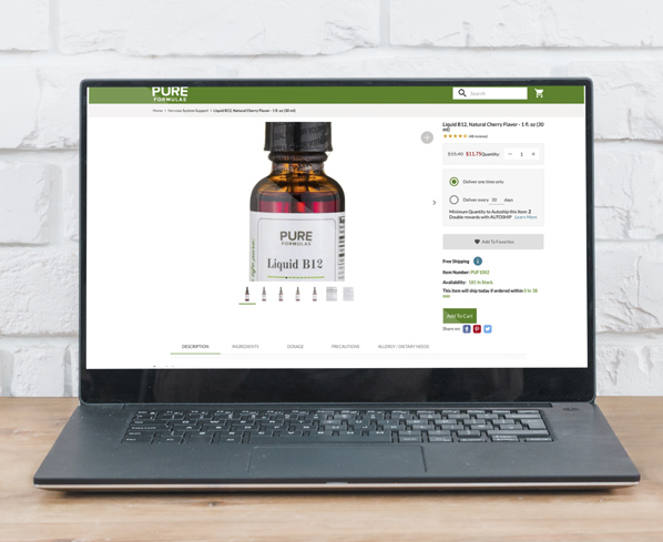 Pure Formulas Product page